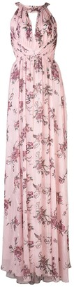 Marchesa halterneck floral bridesmaid dress