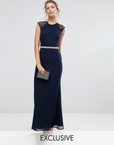 Elise Ryan Embellished Maxi Dress With Lace Back