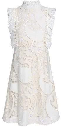29d0a8c4 Ruffled Twill-trimmed Cotton-blend Guipure Lace Mini Dress