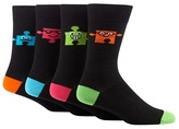 Red Herring Pack Of Four Black Puzzle Socks