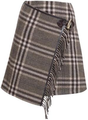 Rumour London Isla Checked Wool Blend Mini Skirt