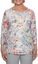 Alfred Dunner Lakeshore Drive 3/4 Sleeve Layered Top