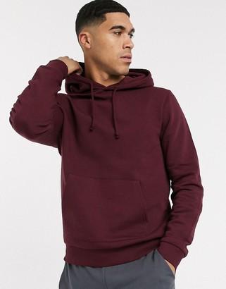 New Look lightweight basic hoodie in burgundy