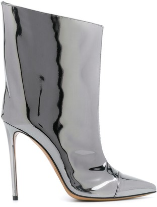 Alexandre Vauthier wide chrome heeled boots