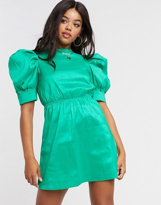 Girl In Mind sateen puff-sleeved mini shift dress in green