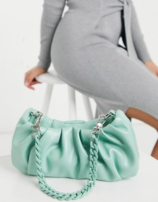 ASOS DESIGN ruched slouchy shoulder bag with detachable multi strap in green