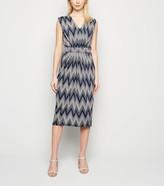 New Look Blue Vanilla Zig Zag Midi Dress