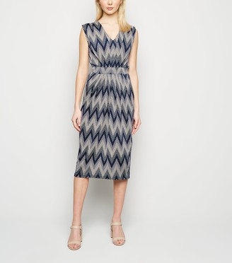 New Look Blue Vanilla Zig Zag Midi Dress