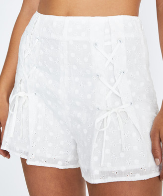 Don't Ask Amanda Lilly Lace Up Shorts White