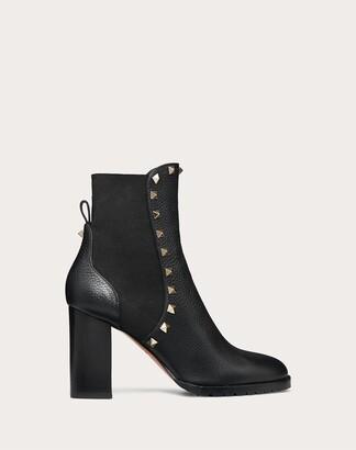 Valentino Rockstud Grainy Calfskin Ankle Boot 80 Mm Women Black Polyester 74%, Elastane 26% 40