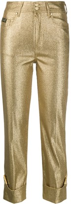 Versace Jeans Couture Metallic Straight-Leg Trousers