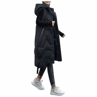 W/B Womens Winter Long Gilets Hooded Quilted Gilet Vest Ladies Body Warmer Zip Up Sleeveless Down Jacket Coat Parka Outwear Waistcoat with Pockets