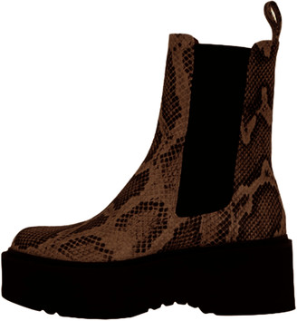 Paris Texas Python Print Beatles Platform Boot in Brown