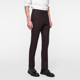 Paul Smith Men's Slim-Fit Burgundy Check Wool-Blend Trousers