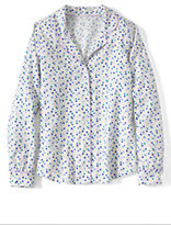 Classic Women's Petite Flannel Sleep Shirt-Ivory Multi Dots