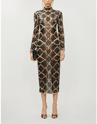 David Koma High-neck embellished midi dress