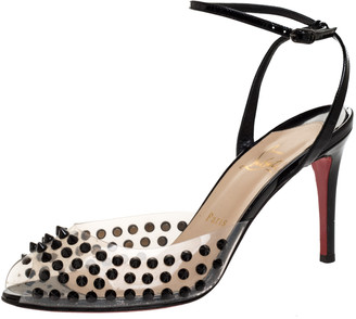 Christian Louboutin Black Patent Leather and PVC Spiked Ankle Strap Sandals Size 39.5