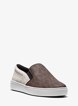 Michael Kors Keaton Two-Tone Logo Slip-On Sneaker