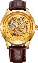 BOS WatchesBOS Watches Manufacturing CO. BOS Men's Mechanical Luminous Pointer Skeleton Gold Color Watch Brown Band 9008