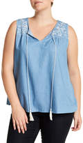 Blu Pepper Sleeveless Embroidered Tank (Plus Size)