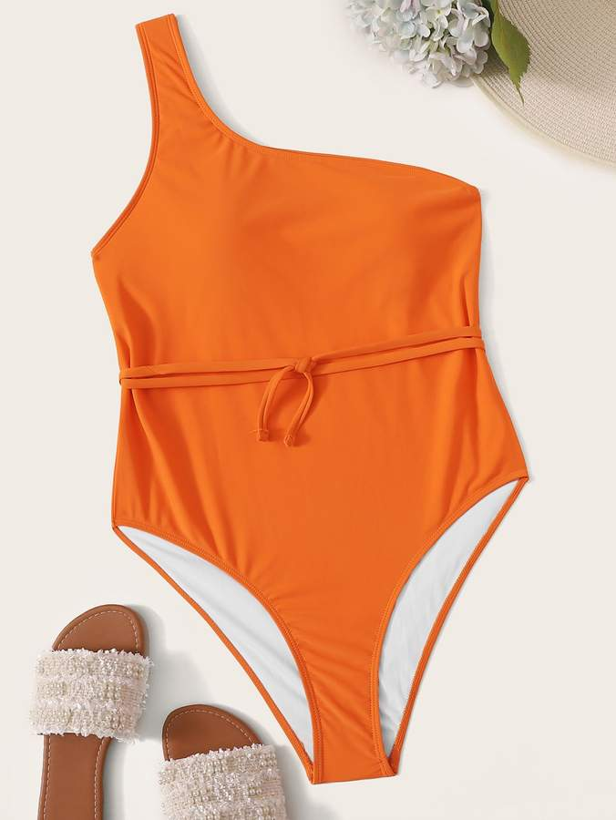 b6594a4ced One Shoulder Plus Size Swimsuit - ShopStyle