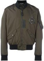 Dolce & Gabbana embellished patch bomber jacket