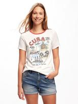 Old Navy Graphic Curved-Hem Tee for Women