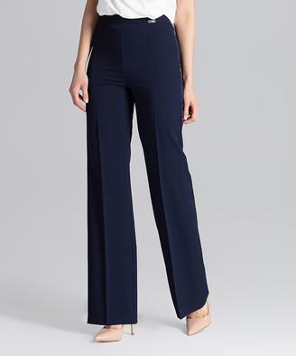 Figl FIGL Women's Dress Pants Navy - Navy Wide-Leg Pants - Women