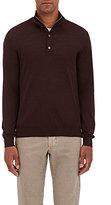 Barneys New York Men's Fine-Gauge Zip-Front Sweater-BURGUNDY