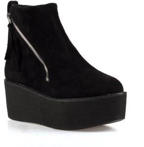 Nature Breeze Hersey-01 Women's Side Zipper Ankle Platform Booties in Black