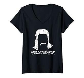 Womens Mulletinator Gift | Funny Mullet Pride V-Neck T-Shirt