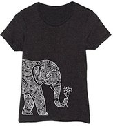 USA Screen Print Direct Left Side Elephant Holding Lotus Boho Trendy Hip Style Fashion - Ladies T-Shirt