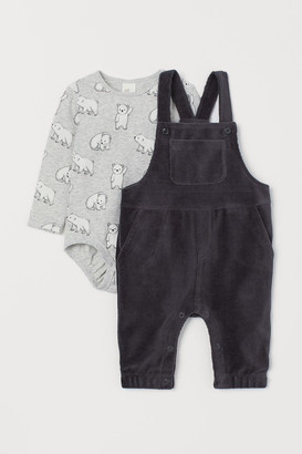 H&M Bodysuit and dungarees