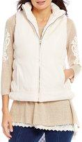 Multiples Solid Faux-Fur Zip Front Reversible Vest