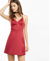 Express v-neck structured fit and flare dress