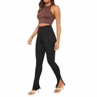 CHRONSTYL Women Sports Split Yoga Pants High Waist Skinny Urban Casual Pants Ladies Tight Seamless Gym Leggings (Black M)