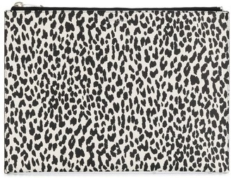 Saint Laurent Leopard-Print Zip Clutch