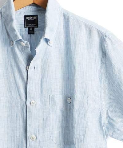 Todd Snyder Short Sleeve Linen Micro Stripe Button Down Shirt