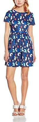 Yumi Women's Brush Stroke Printed Skater Short Sleeve Dress