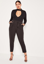 Missguided Plus Size Black Pleated Waist Cigarette Trousers