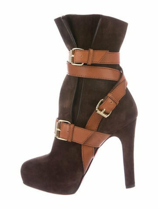 Christian Louboutin Suede Leather Trim Embellishment Boots Brown