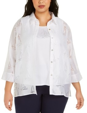 Alfred Dunner Plus Size Ship Shape Burnout-Print Layered Top