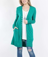 42pops 42POPS Women's Open Cardigans FORESTGREEN - Forest Green Long-Sleeve Snap-Button Cardigan - Women