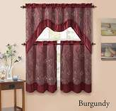 Victoria Classics 3 Piecen Double Layer Leaf Embroidered Kitchen Window Curtain Set with Valance (Burgundy)