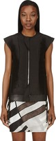 Rick Owens Black Silk & Leather Laced Breast Plate Vest
