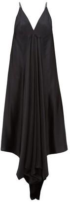 Ann Demeulemeester Magya Draped Satin Slip Dress - Womens - Black