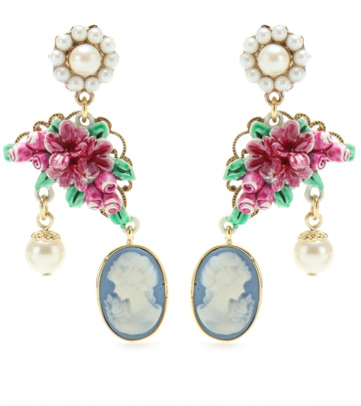 Dolce & Gabbana CLIP-ON EARRINGS WITH CAMEO PENDANT