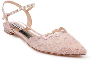 Badgley Mischka Lennon Lace Ballet Flats with Pearly Ankle Strap