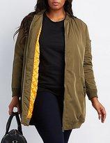 Charlotte Russe Plus Size Longline Bomber Jacket