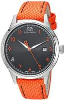 88 Rue du Rhone Men's 'Rive' Swiss Quartz Stainless Steel and Leather Dress Watch, Color:Orange (Model: 87WA154102)
